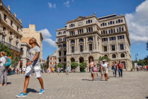 Man Walking around Havana, Cuba