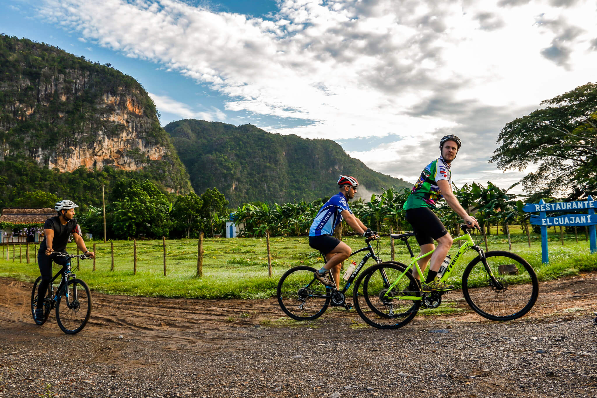 Travellers Cycling in Rural Cuba