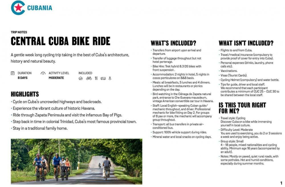Central Cuba Bike Ride free trip notes