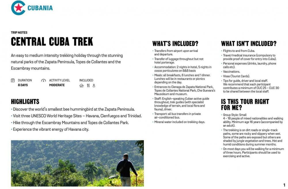 Central Cuba Trek free trip notes