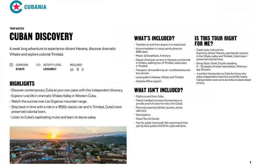 Cuban Discovery free trip notes
