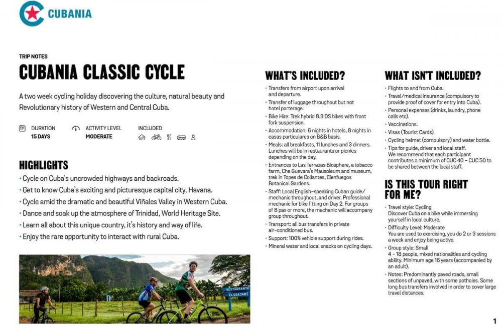 Cubania Classic Cycle free trip notes