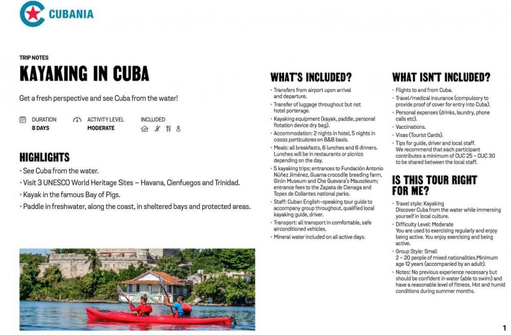 Kayaking in Cuba free trip notes