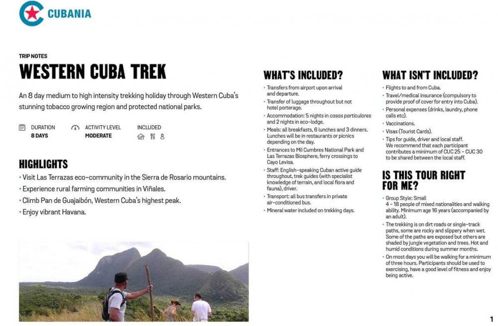 Western Cuba Trek free trip notes