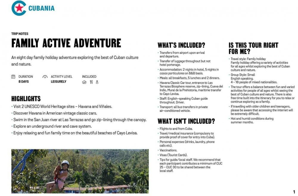 Family Active Adventure free trip notes