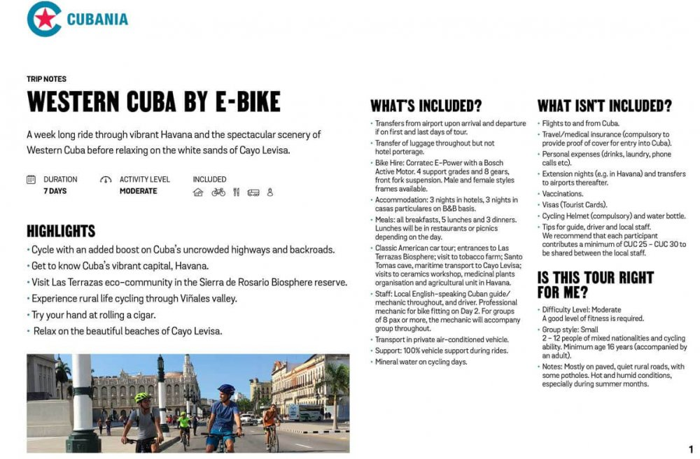 Western and Central Cuba by E-bike free trip notes