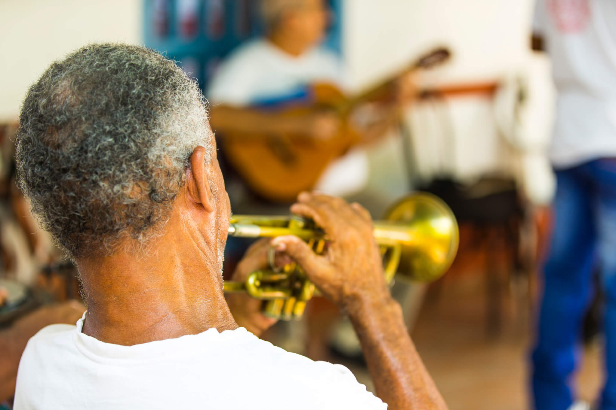 Cuban Man Playing the Trumpet in Cuba
