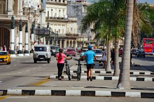 Alex and Elena walking down Prado, Havana, Cuba