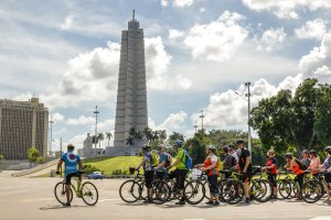 Cycling Group at the Plaza de la Revolucion in Havana, Cuba