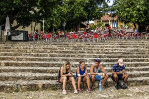 People connecting to Wifi in Trinidad, Cuba