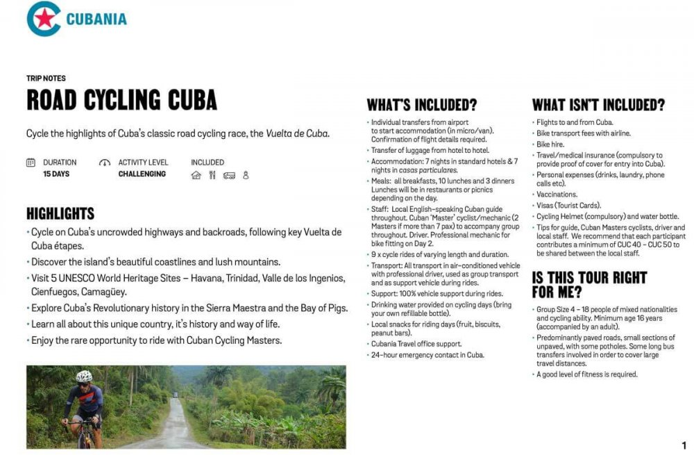 "Road Cycling Cuba ""Vuelta de Cuba"" free trip notes"
