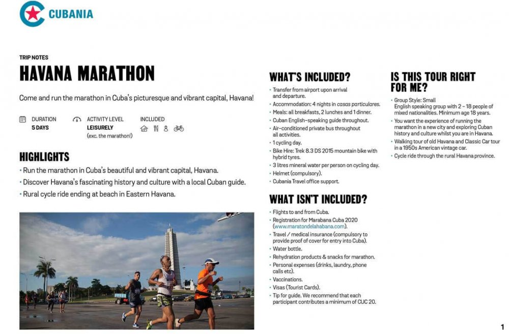 Havana Marathon 2021 free trip notes