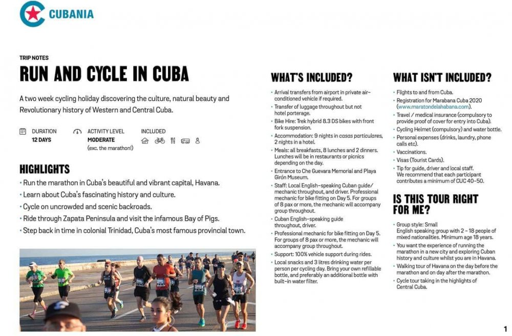 Run And Cycle In Cuba free trip notes
